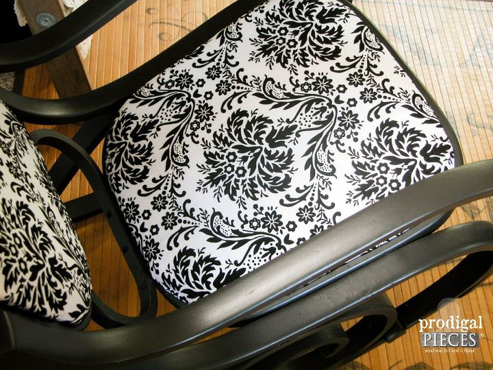 curbside rocker get black beauty makeover, painted furniture, repurposing upcycling, reupholster