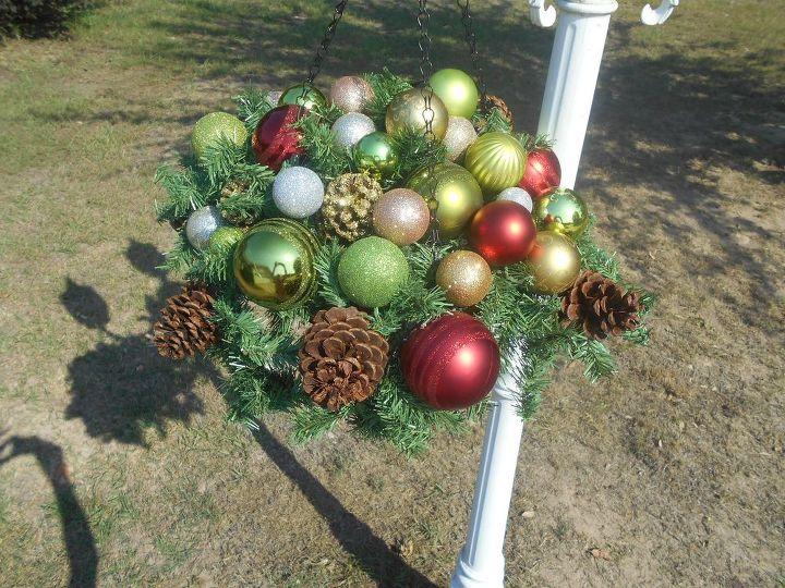 christmas hanging basket for outside or inside christmas decorations crafts seasonal holiday decor - Christmas Hanging Baskets