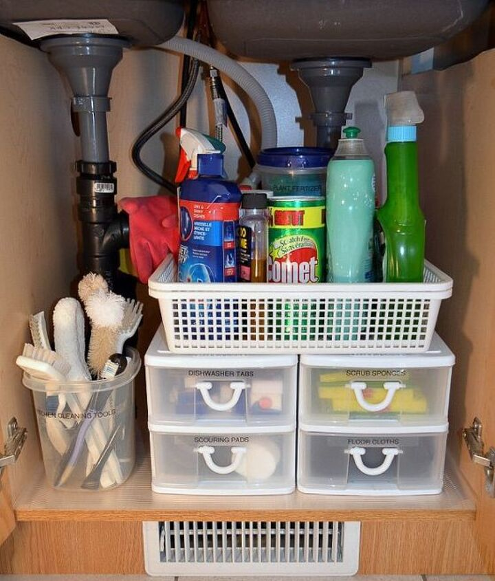 inexpensive storage ideas to make the most of a kitchen sink cabinet, kitchen cabinets, organizing, storage ideas