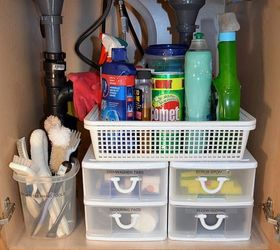 inexpensive storage ideas to make the most of a kitchen sink cabinet kitchen cabinets