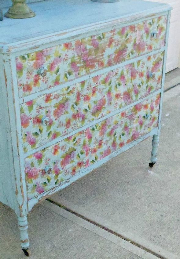 dresser refresh inspired by vintage sheets, painted furniture