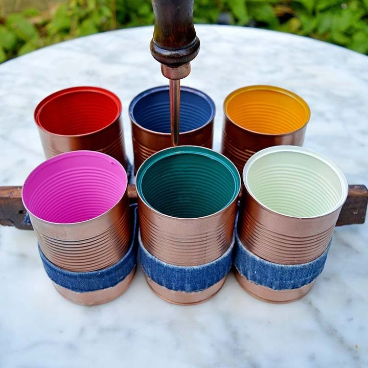 upcylce tin cans and old jeans into a handy caddy, crafts, repurposing upcycling
