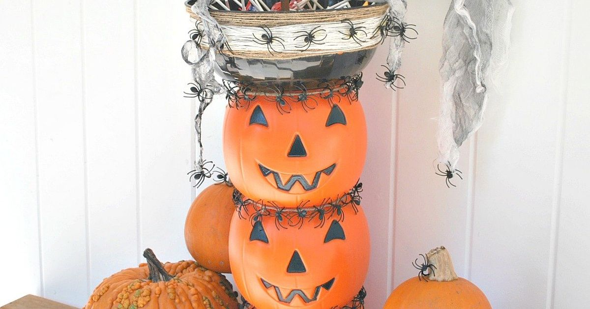 Stacked Jack O Lantern Candy Bowl Topiary Hometalk