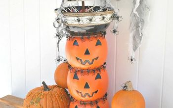 Stacked Jack O'Lantern Candy Bowl Topiary