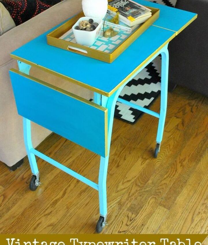 vintage typewriter table to side table and drink table, painted furniture, repurposing upcycling