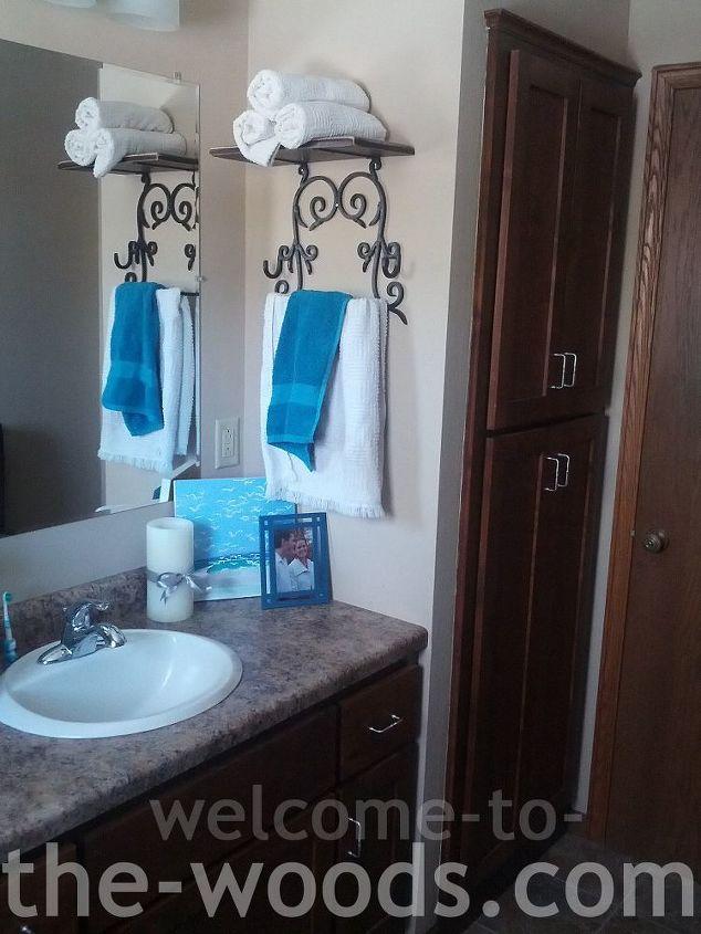 bathroom redo for only 27, bathroom ideas, paint colors, repurposing upcycling, small bathroom ideas, wall decor