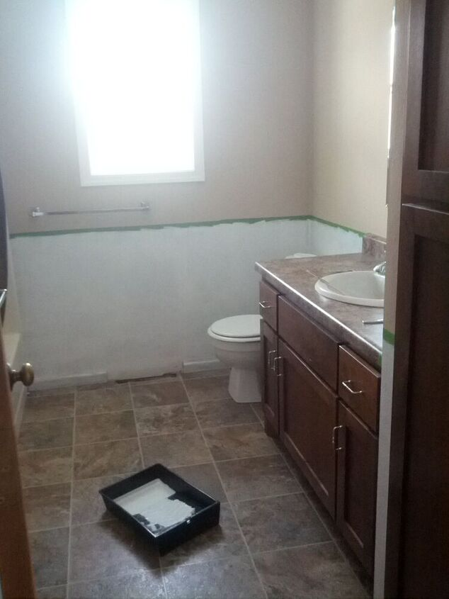 bathroom redo for only 27, bathroom ideas, paint colors, repurposing upcycling, small