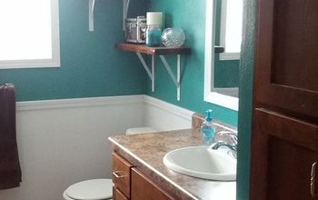 bathroom redo for only 27, bathroom ideas, paint colors, repurposing upcycling, small bathroom ideas, wall decor