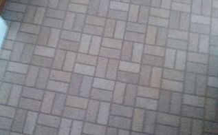 q kitchen floor, cosmetic changes, flooring, home improvement, painting over finishes, this my old outdated floor it also has spots like small tears