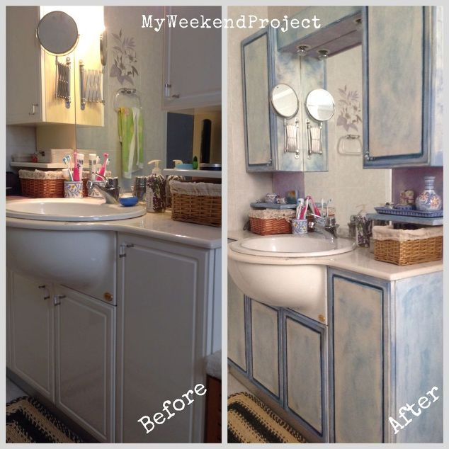 bathroom cabinets makeover with chalk paint hometalk - Painted Bathroom Cabinets Before And After
