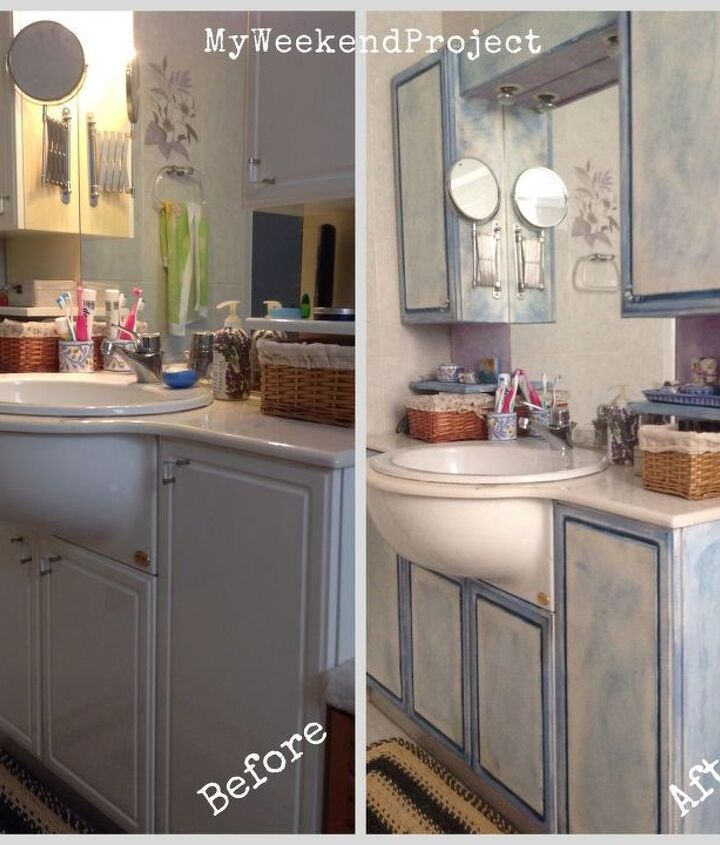 bathroom cabinets makeover with chalk paint, bathroom ideas, chalk paint, painting, Before and After the chalk paint makeover