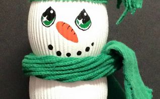 make a snowman from candle jars, christmas decorations, crafts