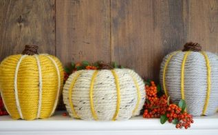 yarn wrapped pumpkins, crafts, seasonal holiday decor
