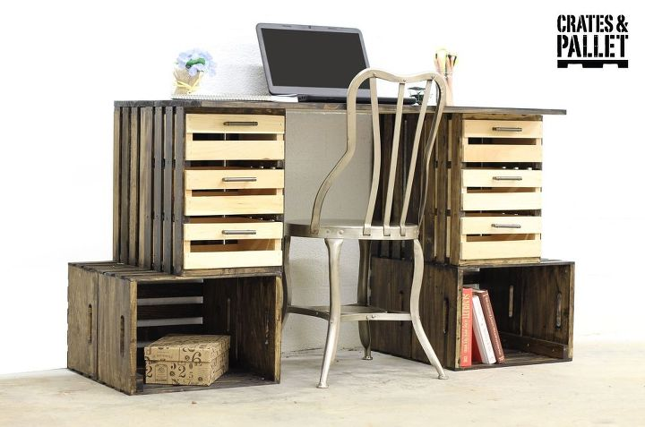 diy crate desk, diy, painted furniture, repurposing upcycling, woodworking projects