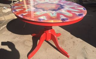 ordinary oak table turned into a kalidescope spitchallenge, painted furniture, repurposing upcycling, woodworking projects
