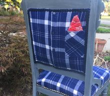 what do you do with an outdated chair and a men s flannel shirt look, painted furniture, repurposing upcycling