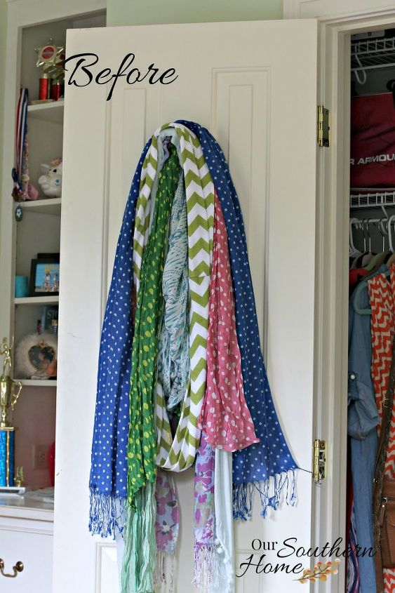 thrift store scarf organizer, organizing, repurposing upcycling
