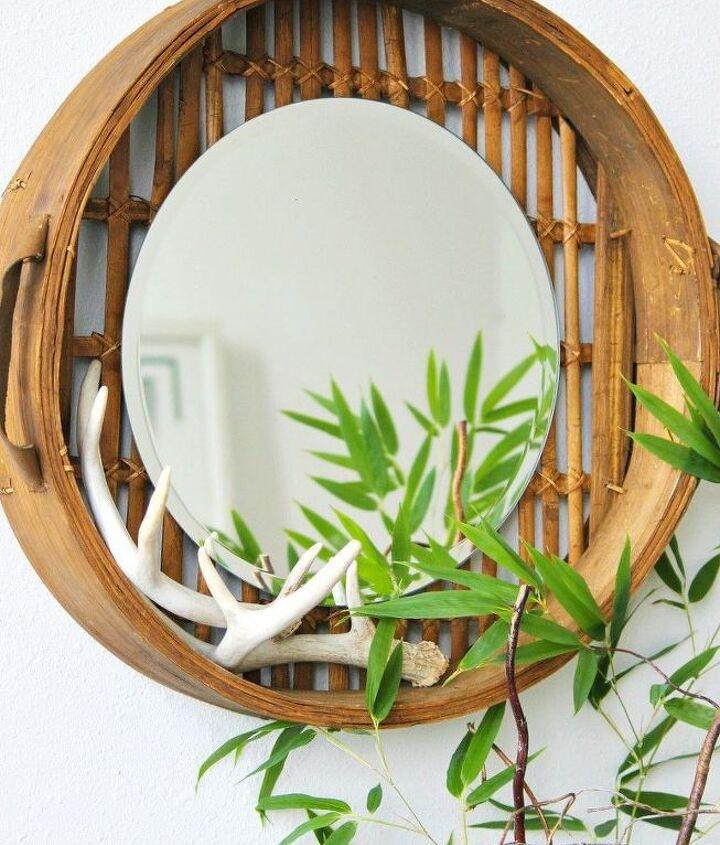 bamboo basket mirror, crafts, home decor, repurposing upcycling, rustic furniture, wall decor