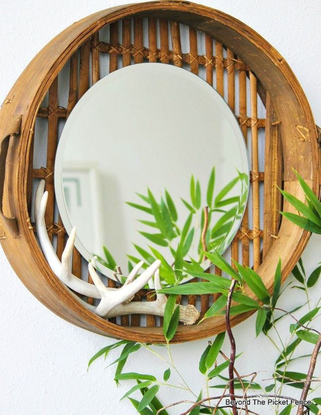 bamboo basket mirror, crafts, home decor, repurposing upcycling, rustic furniture, wall decor
