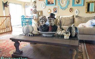 spooky halloween coffee table decor, halloween decorations, seasonal holiday decor