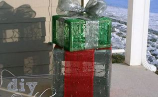 outdoor lighted holiday gift boxes, christmas decorations, crafts, seasonal holiday decor