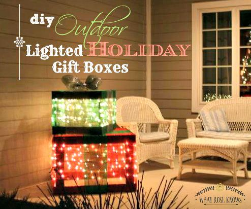 outdoor lighted holiday gift boxes christmas decorations crafts seasonal holiday decor - Outdoor Lighted Christmas Decorations