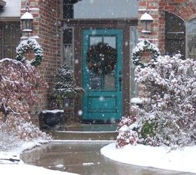 The brick is more red but the trim around the door looks brown and the bright turquoise looks nice against it. & What Color Would Look Good on Our Door? | Hometalk