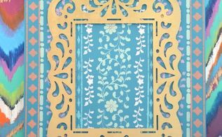 wooden frame stencilled canvas, crafts