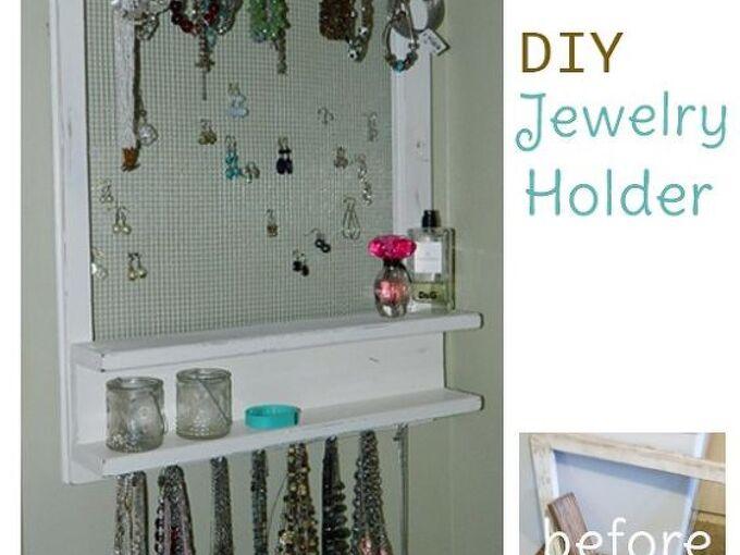 repurposed jewelry organizer made from an old window shelf, crafts, organizing, repurposing upcycling, wall decor