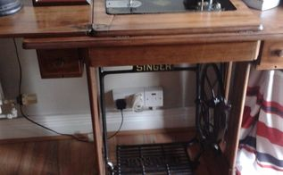 singer sewing machine, painted furniture, repurposing upcycling, Pride of place