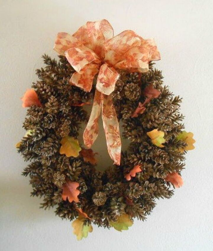 s 13 reasons to rush outside and collect an armful of pine cones, christmas decorations, crafts, repurposing upcycling, seasonal holiday decor, Color Fall Foliage Wreath