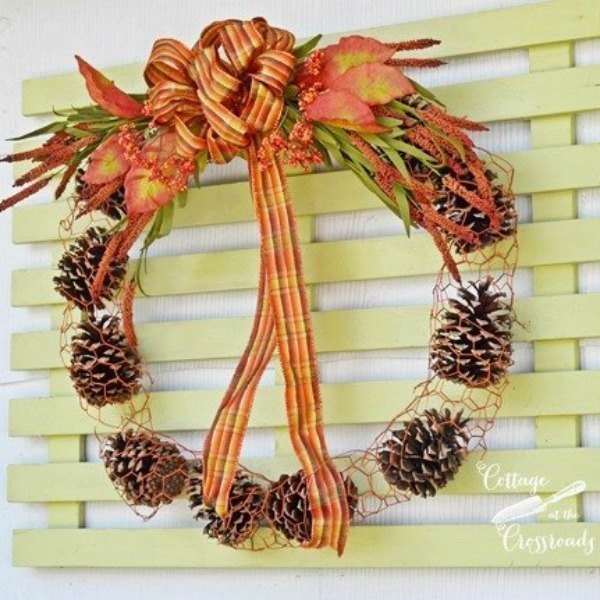 s 13 reasons to rush outside and collect an armful of pine cones, christmas decorations, crafts, repurposing upcycling, seasonal holiday decor, Chicken Wire Wreath