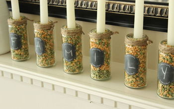 diy jar candle holders, crafts, fireplaces mantels, repurposing upcycling, seasonal holiday decor