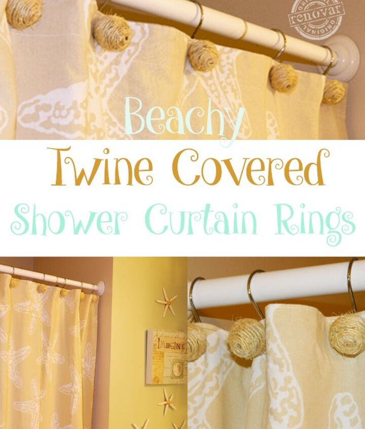 how to make beachy twine covered shower curtain rings, bathroom ideas, crafts, home decor, how to, small bathroom ideas