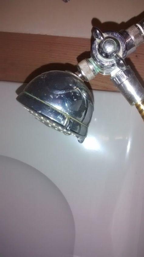 q shower head dripping, home maintenance repairs, minor home repair, plumbing, Main shower head can see the drip