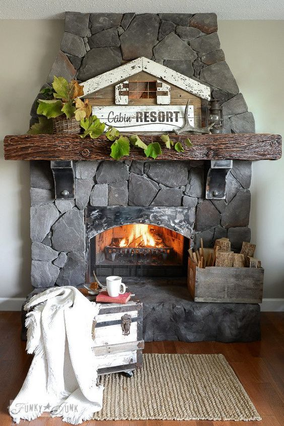 light up a cozy fall fireplace with an illuminated cabin resort sign, crafts, fireplaces mantels, living room ideas, repurposing upcycling, seasonal holiday decor, woodworking projects