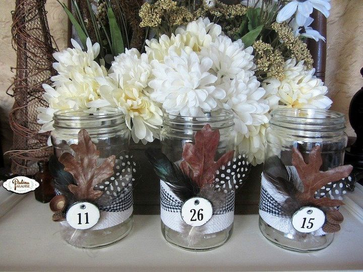 nature inspired decorated jars for fall, crafts, seasonal holiday decor