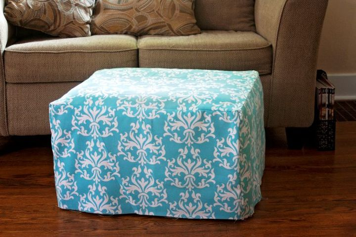 easiest ottoman makeover ever a slipcover, painted furniture, reupholster