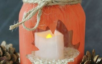 make your own stenciled leaf jars, chalk paint, crafts, how to, seasonal holiday decor
