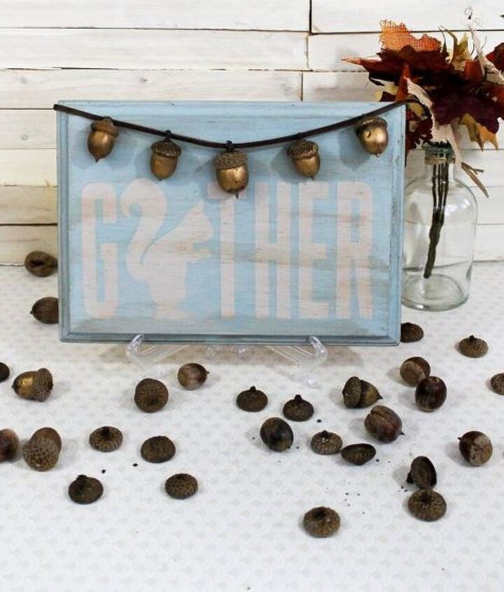 diy golden acorns gather sign, chalk paint, crafts, seasonal holiday decor