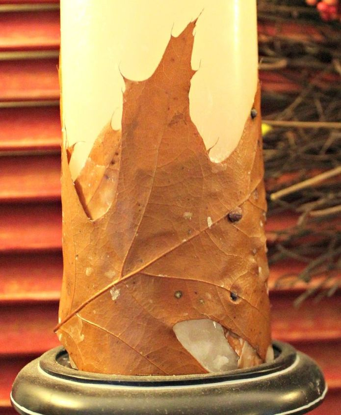 diy pottery barn knock off candle with leaves, crafts, seasonal holiday decor