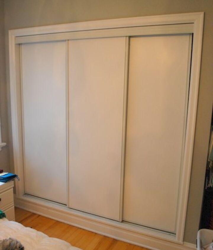 painted sliding closet doors faux trim effect, closet, painting