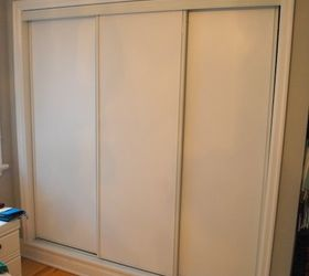 Beautiful Painted Sliding Closet Doors Faux Trim Effect, Closet, Painting