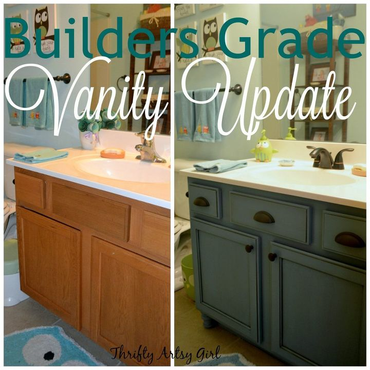 Builders Grade Teal Bathroom Vanity Upgrade For Only 60 Ideas Chalk Paint