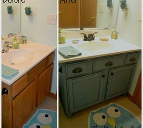 builders grade teal bathroom vanity upgrade for only 60 bathroom ideas chalk paint