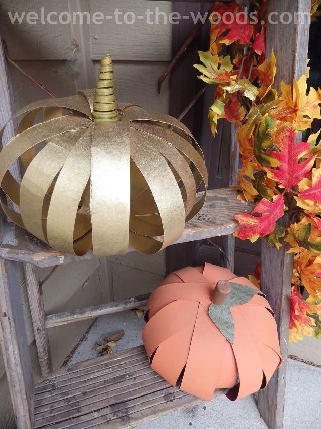 diy cardboard pumpkin craft, crafts, halloween decorations, seasonal holiday decor