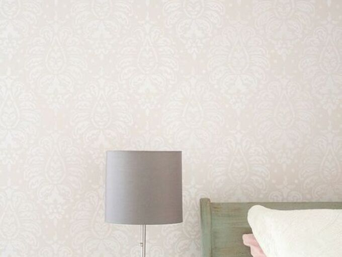 how to stencil tutorial bombay pink paisley wall, bedroom ideas, home decor, how to, painting, wall decor