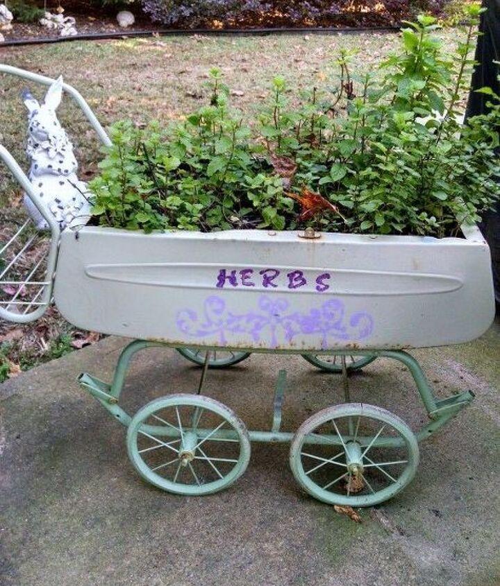 buggy re do, container gardening, gardening, repurposing upcycling