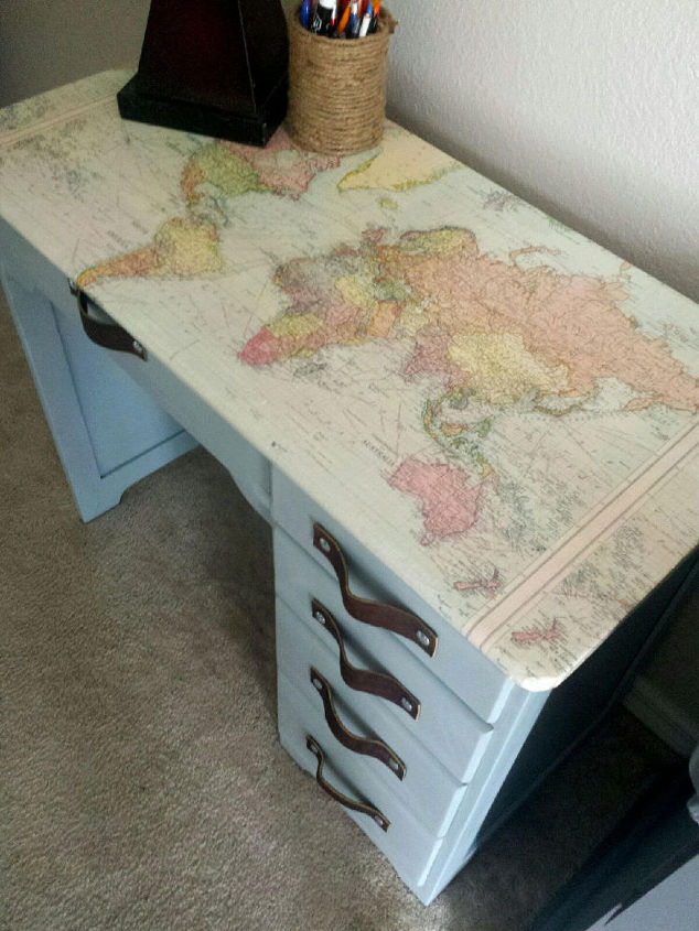 Diy Decoupage World Map Desk Painted Furniture