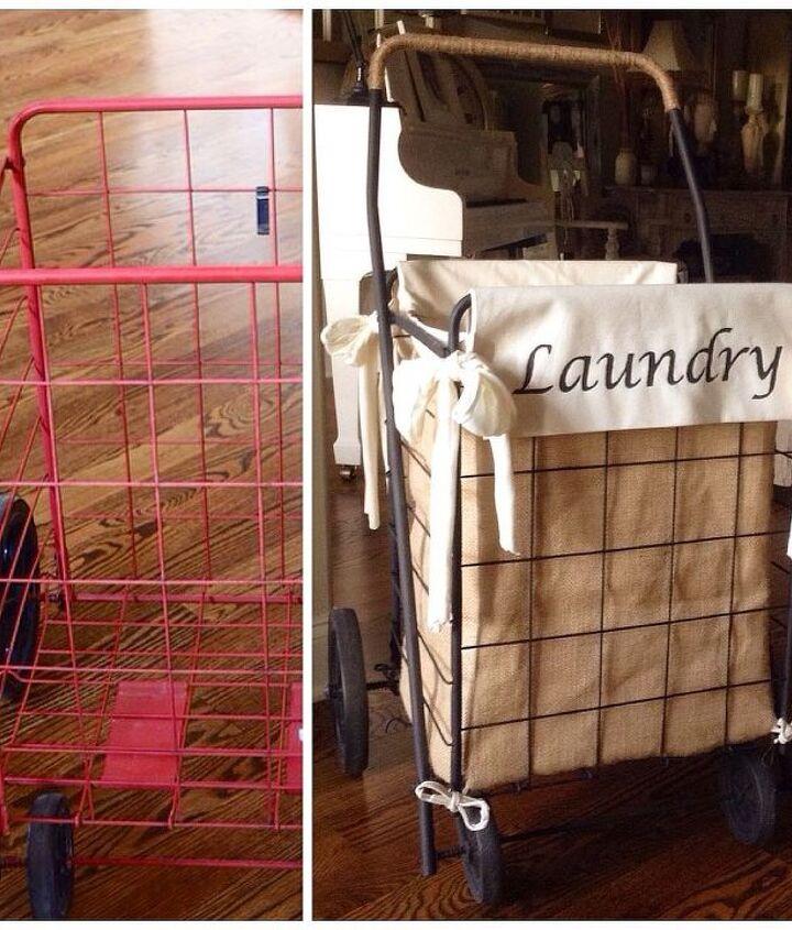 diy granny shopping cart laundry hamper, crafts, repurposing upcycling
